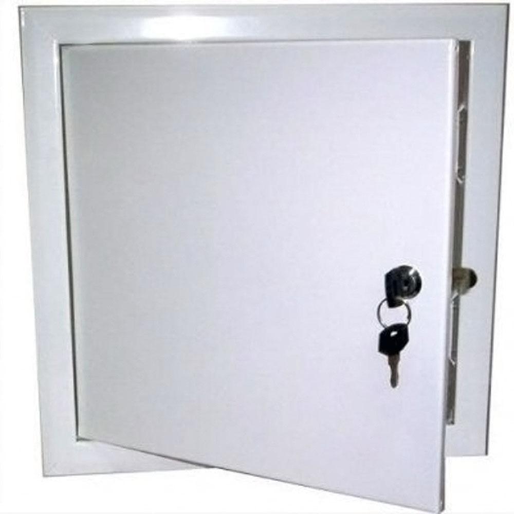 Белый металлический сантехнический люк