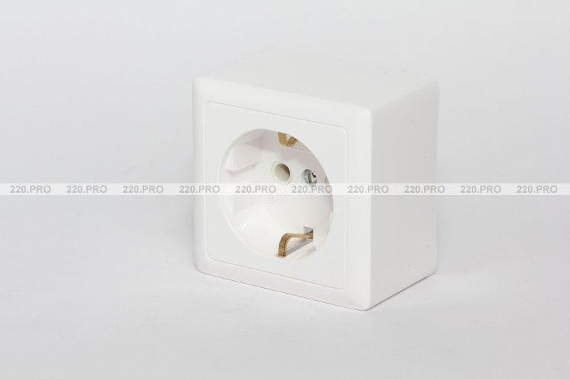 ХИТ Розетка с заземлением наружная 250В 16А белая Schneider Electric  (РА16-133-б) 858d13a4616