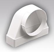 612СК10ФП,Соединитель угловой 90° пластик, плоского воздуховода с фланц. воздухораспред.60х120/D100 - Эра