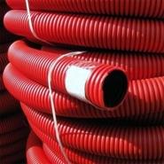 Труба ПНД гофрированная двустенная красная d=50