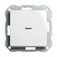 Переключатель одноклавишный с подсветкой белый глянцевый Gira System 55 (010600/099600/029003)