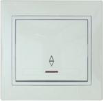 Выключатель одноклавишный проходной с подсветкой белый Lezard MIRA