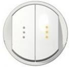 Legrand Celiane Лицевая панель выключателя двухклавишного с подсветкой (белый)