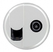 Legrand Celiane Лицевая панель розетки компьютерной RJ-45 и телевизионной TV (белый)