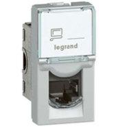 Розетка компьютерная RJ45 FTP категория 6 1 модуль алюминий Legrand Mosaic (79462)