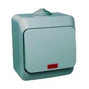 ЭТЮД Выключатель одноклавишный наружный с подсветкой IP44 серый (BA10-045C)