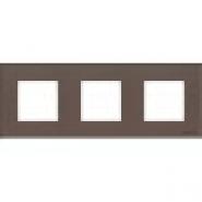 Рамка 3 поста - кофейное стекло, Zenit ABB (N2273 CC)