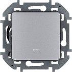 Выключатель 1 кл с подсветкой, 10 AX, 250 В -  алюминий INSPIRIA 673612