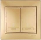 Выключатель двухклавишный проходной Золото Lezard MIRA