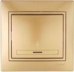 Выключатель одноклавишный проходной с подсветкой Золото Lezard MIRA