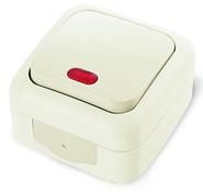 Выключатель одноклавишный с подсветкой, IP54, настенного монтажа, кремовый VIKO Palmiye 9055561