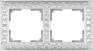 Рамка на 2 поста, WL07-Frame-02 - жемчужный, металл, Werkel Antik
