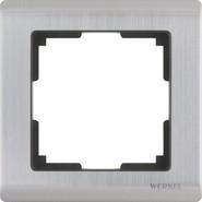 Рамка на 1 пост, WL02-Frame-01 - глянцевый никель, металл, Werkel Metallic