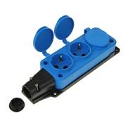 Колодка синяя тройная (3 гнезда) каучуковая с заземлением с заглушками IP44 T-Plast