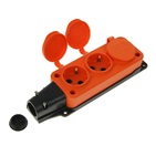 Колодка оранжевая тройная (3 гнезда) каучуковая с заземлением с заглушками IP44 T-Plast