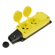 Колодка желтая тройная (3 гнезда) каучуковая с заземлением с заглушками IP44 T-Plast