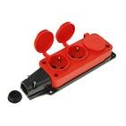 Колодка красная тройная (3 гнезда) каучуковая с заземлением с заглушками IP44 T-Plast