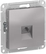 Розетка телефонная RJ11, механизм - алюминий, Schneider Atlas Design