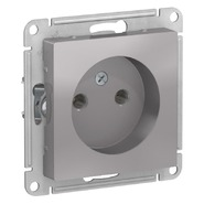 Розетка без заземления, 16А, механизм - алюминий, Schneider Atlas Design