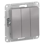Выключатель 3 кл, сх.1+1+1, 10АХ, механизм - алюминий, Schneider Atlas Design