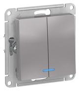 Выключатель 2 кл с подсветкой, сх.5а, 10АХ, механизм - алюминий, Schneider Atlas Design