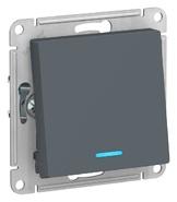 Переключатель 1 кл с подсветкой, сх.6а, 10АХ, механизам - грифель, Schneider Atlas Design