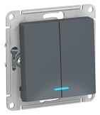 Выключатель 2 кл с подсветкой, сх.5а, 10АХ, механизм - грифель, Schneider Atlas Design