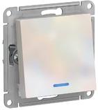 Переключатель 1 кл с подсветкой, сх.6а, 10АХ, механизам - жемчуг, Schneider Atlas Design
