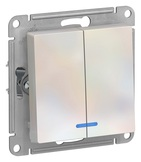 Выключатель 2 кл, с подсветкой, сх.5а, 10АХ, механизм - жемчуг, Schneider Atlas Design