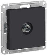 Розетка ТВ проходная 4DB, механизм - карбон, Schneider Atlas Design