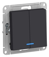 Выключатель 2 кл с подсветкой, сх.5а, 10АХ, механизм - карбон, Schneider Atlas Design