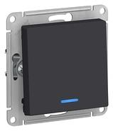 Выключатель 1 кл с подсветкой, сх.1а, 10АХ, механизм - карбон, Schneider Atlas Design