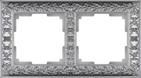 Рамка на 2 поста, WL07-Frame-02 - матовый хром, металл, Werkel Antik