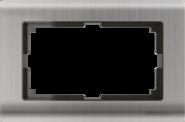 Рамка для двойной розетки, WL02-Frame-01-DBL - глянцевый никель, металл, Werkel Metallic