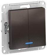 Выключатель 2 кл с подсветкой, сх.5а, 10АХ, механизм - мокко, Schneider Atlas Design