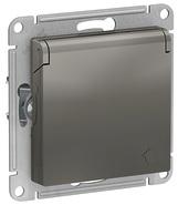 Розетка с заземлением, шторками, крышкой, 16А, IP20, механизм - сталь, Schneider Atlas Design