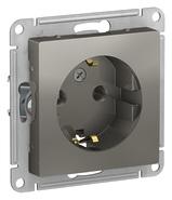 Розетка с заземлением, 16А, механизм - сталь, Schneider Atlas Design