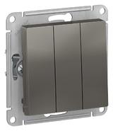 Выключатель 3 кл, сх.1+1+1, 10АХ, механизм - сталь, Schneider Atlas Design