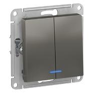 Выключатель 2 кл с подсветкой, сх.5а, 10АХ, механизм - сталь, Schneider Atlas Design