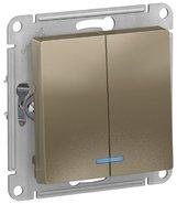 Выключатель 2 кл с подсветкой, сх.5а, 10АХ, механизм - шампань, Schneider Atlas Design