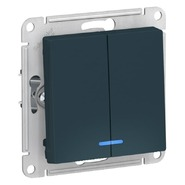 Выключатель 2 кл с подсветкой, сх.5а, 10АХ, механизм - изумруд, Schneider Atlas Design