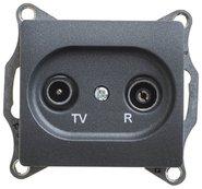 Розетка TV-R проходная 4DB, механизм - антрацит, Schneider Glossa