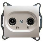 Розетка TV-R проходная 4DB, механизм - перламутр, Schneider Glossa