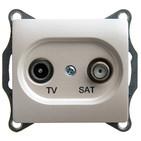 Розетка TV-SAT проходная 4DB, механизм - перламутр, Schneider Glossa