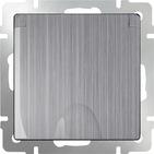 Розетка влагозащищенная с заземлением, крышкой, шторками, WL02-SKGSC-01-IP44 - глянцевый никель, Werkel
