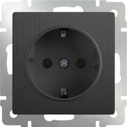 Розетка с заземлением, WL04-SKG-01-IP20 - графит рифленый, Werkel