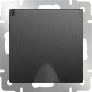 Розетка влагозащищенная с заземлением, крышкой, шторками, WL04-SKGSC-01-IP44 - графит рифленый, Werkel