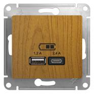 USB розетка A+С, 5В/2,4А, 2х5В/1,2 А, механизм - дерево дуб, Schneider Glossa