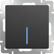 Выключатель 1 кл, с подсветкой, WL04-SW-1G-LED - графит рифленый, Werkel
