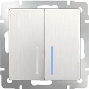 Выключатель проходной 2 кл, с подсветкой, WL13-SW-2G-2W-LED - перламутровый рифленый, Werkel